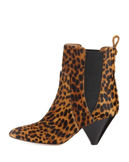 Landon Leopard-Print Calf Hair Ankle Boot