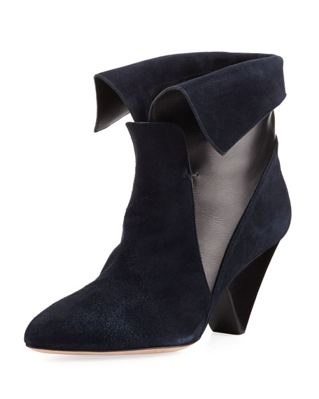 Laurel Suede Fold-Over Boot, Navy