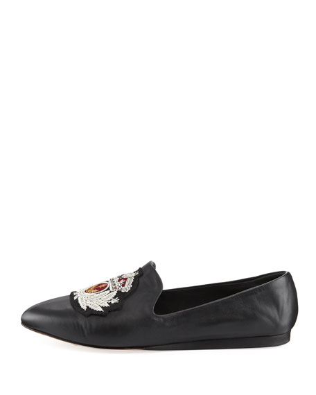 Griffin Embroidered Leather Loafer, Black