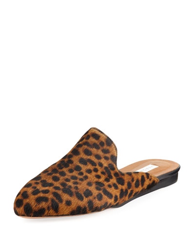 Leopard-Print Calf Hair Loafer Mule