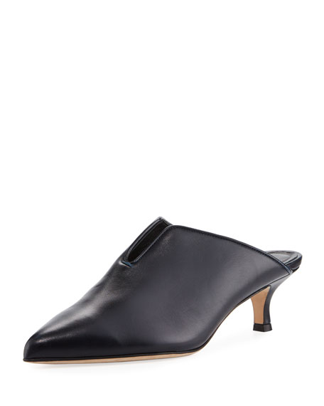 Dana Leather Low-Heel Mule Pump