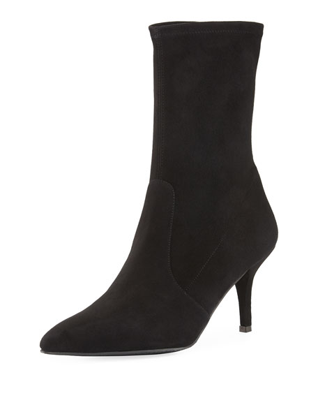 Cling Suede Sock Bootie, Black