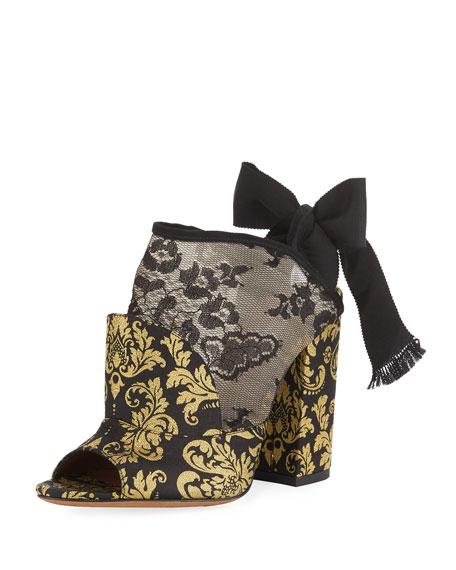 Women'S Regina Suede & Lace Block Heel Sandals, Black/Gold