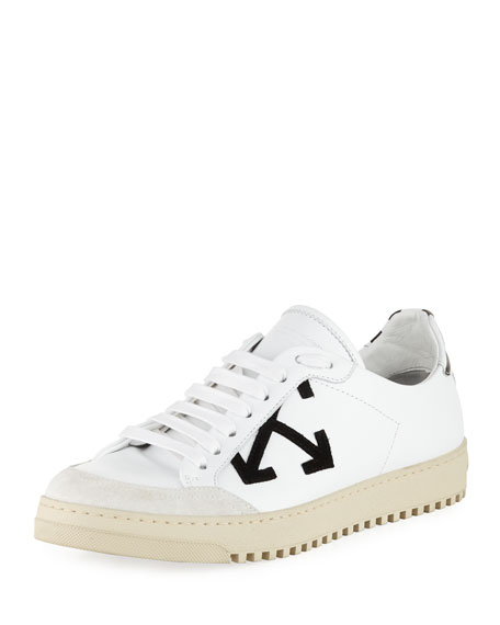 White Classic Sneaker With Black Arrows Print And Red Tag. from Al Duca d'Aosta