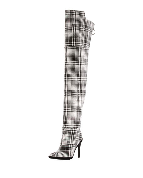 Tartan Plaid Over-the-Knee Boot
