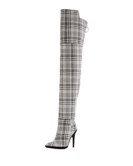 Tartan Plaid Over-the-Knee Boot