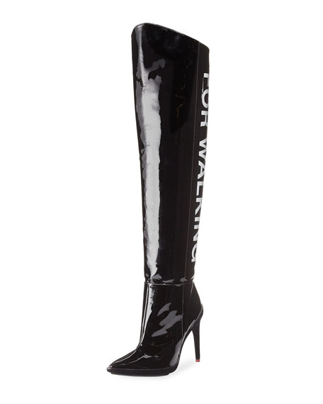 For Walking Over-the-Knee Patent Boot