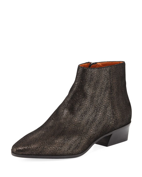 Fire Metallic Pebbled Ankle Boot