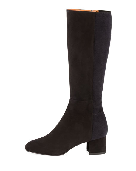 Jules Suede Block-Heel Tall Boot