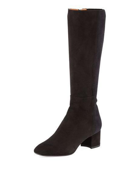 Jules Suede Block-Heel Tall Boot
