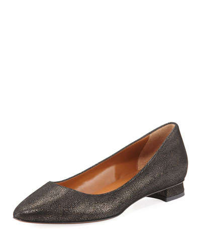 Perla Pebbled Metallic Ballerina Flat