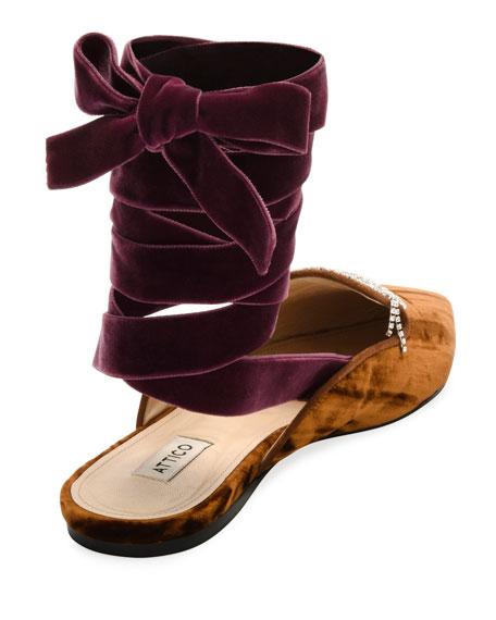 Anne Crystal-Embellished Velvet Ankle-Wrap Mule