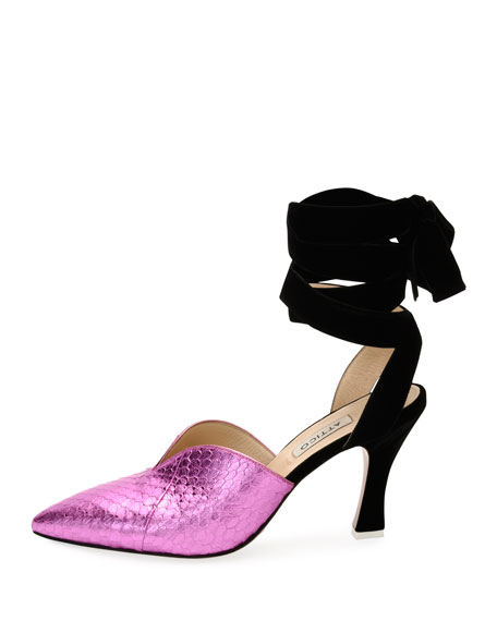 Olivia Snakeskin Point-Toe Ankle-Wrap Pump