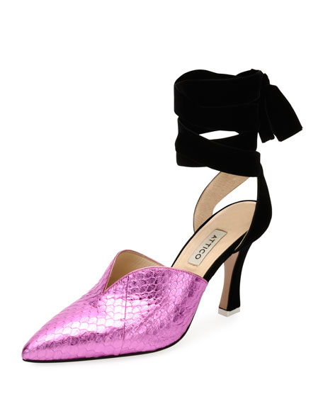 Olivia Snakeskin Point-Toe Ankle-Wrap Pump