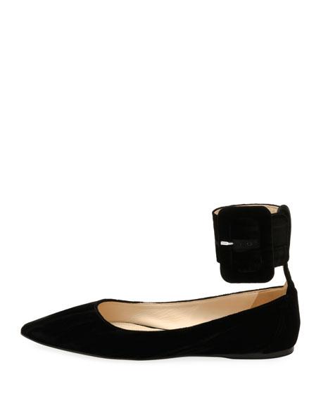 Julia Velvet Ankle-Cuff Flat