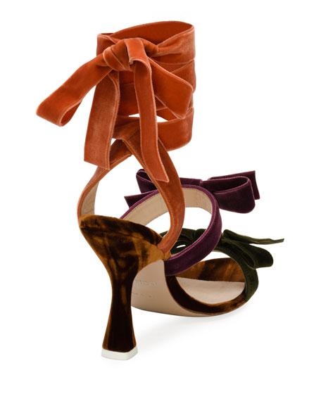 Diletta Colorblock Velvet Bow Sandal