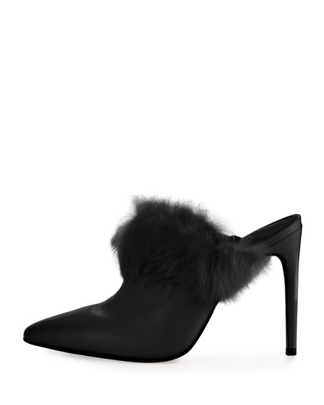 Felicia Fur-Trim Mule Pump