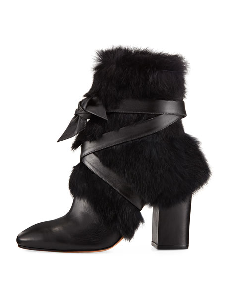 Lora Rabbit Fur Block-Heel Boots