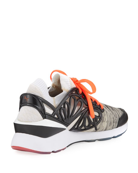 Pearl Lace-Up Cage Fade Sneaker, Black/White