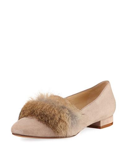 Fany Fur-Trim Suede Flat