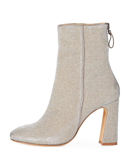 Corella Metallic Fabric Block-Heel Boot
