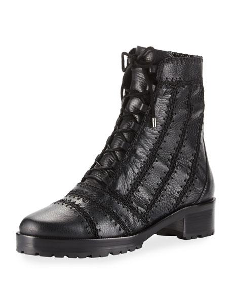 Regina Crocheted Leather Combat Boot