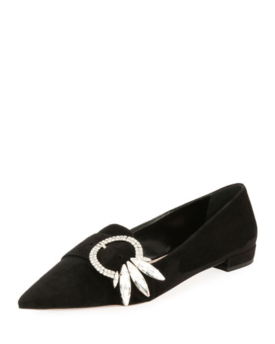 Crystal-Buckle Suede Flat