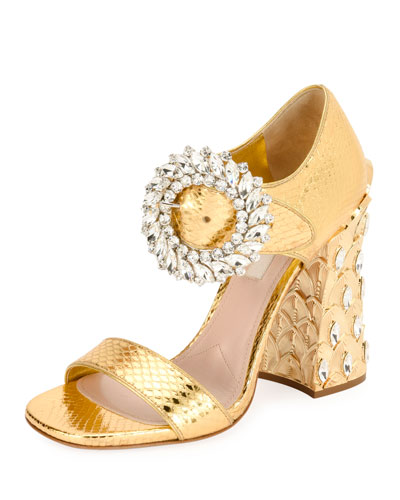 Metallic Snakeskin Buckle Pump with Pineapple Heel