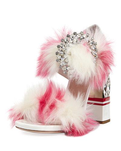 Faux-Fur Two-Strap Sandal