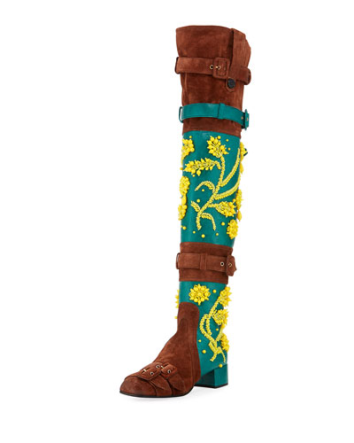 Beaded Suede Over-the-Knee Boot