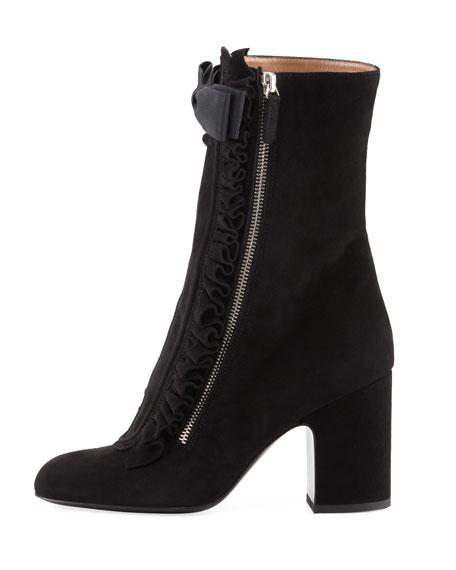 Patty Ruffled Suede Block-Heel Boot