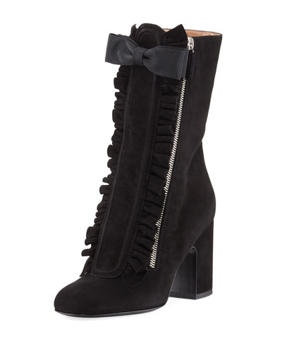 Patty Ruffled Suede Block-Heel Boot