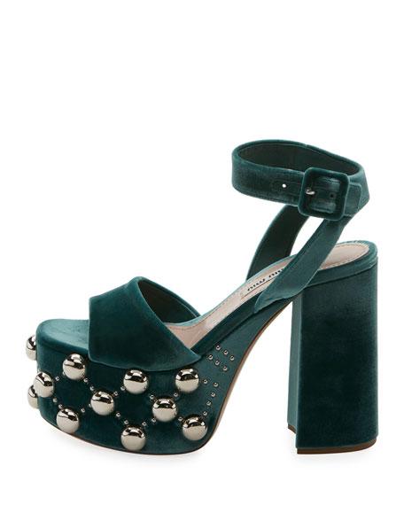 b64a47e285d Miu Miu Velvet Studded Platform Sandal