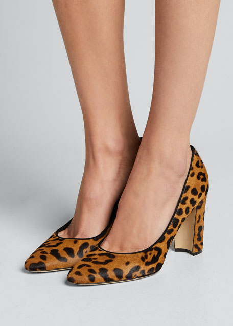 Tucciototo Leopard-Print Calf Hair Pumps