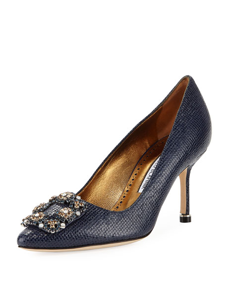 Hangisi 70mm Snake-Embossed Leather Pump