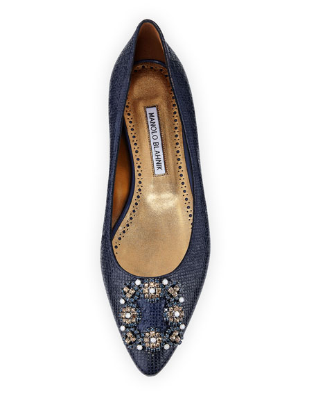 Hangisi Snake-Embossed Leather Flat