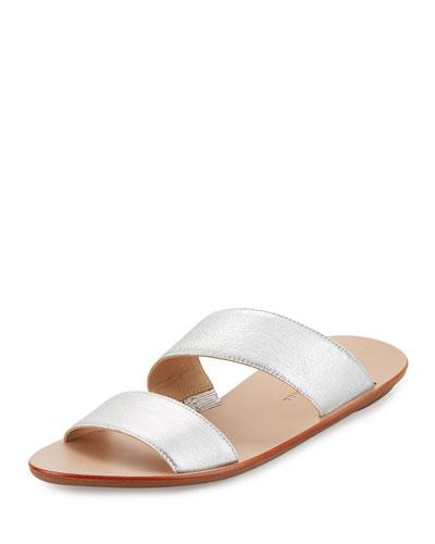 Clem Flat Leather Slide Sandal