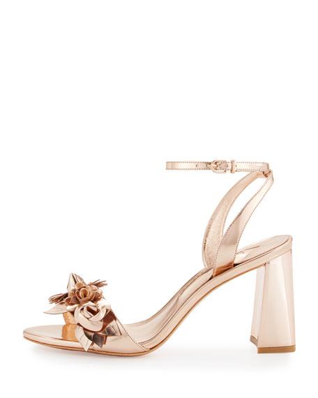 Lilico Floral Leather Block-Heel Sandal