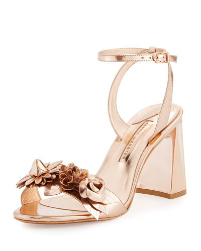 Lilico Floral Leather Block-Heel Sandal