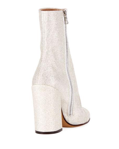 Glittered Fabric Block-Heel Bootie, White