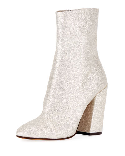 Glittered Fabric Block-Heel Bootie, White