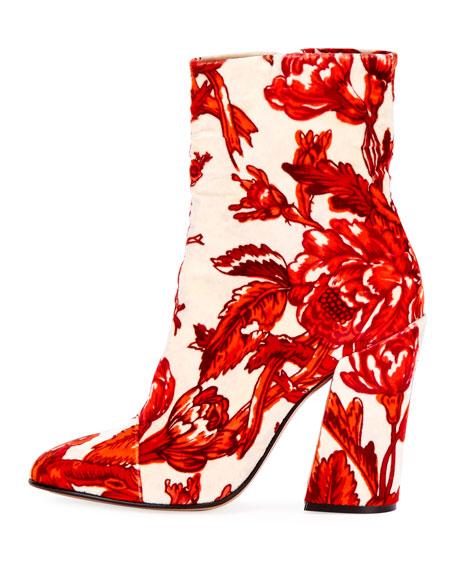 Patterned Velvet Block-Heel Bootie
