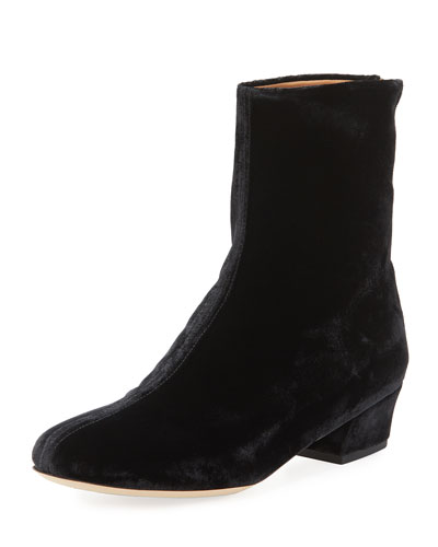 Crushed Velvet Ankle Boot