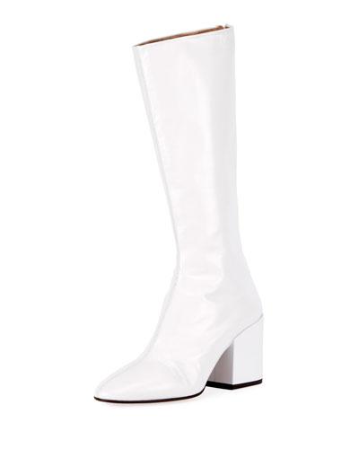 Patent Leather Black-Heel 70mm Boot