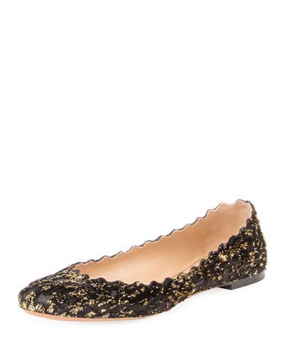 Glittered Velvet Ballerina Flat