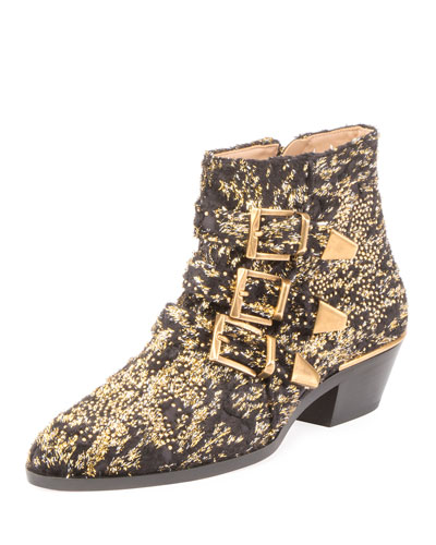 Susanna 30mm Glittery Velvet Ankle Boot