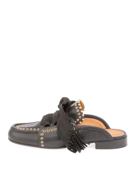 Lace-Up Studded Loafer Mule, Black
