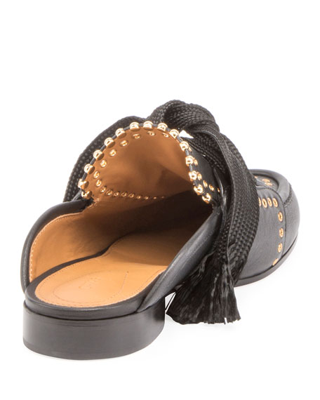 Lace-Up Studded Loafer Mule, Black