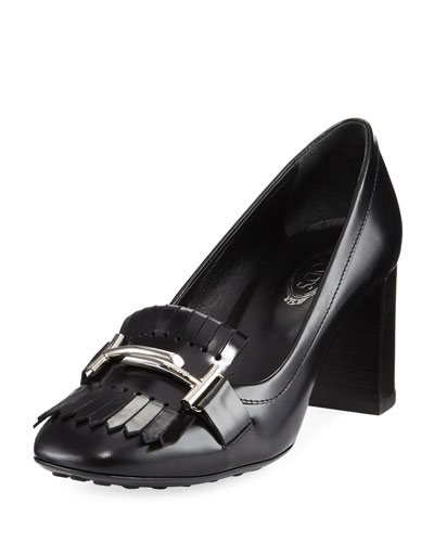 Double-T Kiltie Loafer Pump, Black