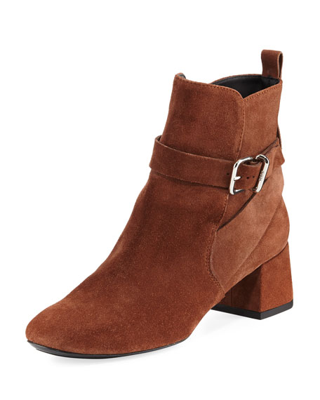 Suede Ankle-Strap Block-Heel Boot, Brown